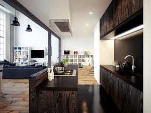 168平米后现代风格黑色系复式楼装修效果图