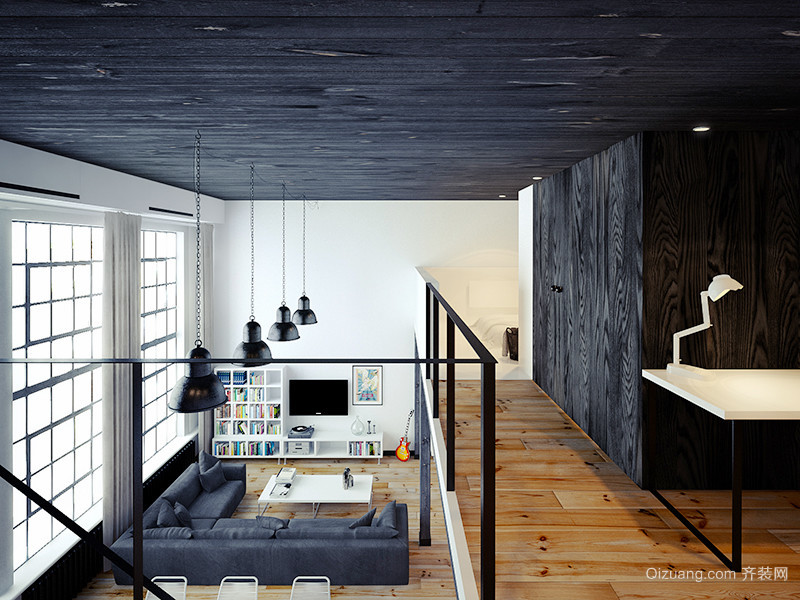 168平米后現代風格黑色系復式樓裝修效果圖