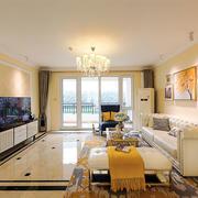 简欧风格温馨暖色系客厅装修效果图赏析