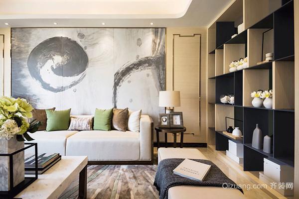 新中式风格淡雅三室两厅室内装修效果图案例