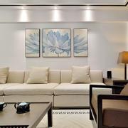 中式风格淡雅两居室客厅背景墙装修效果图