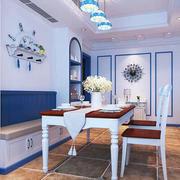 地中海风格蓝色经典餐厅卡座装修效果图