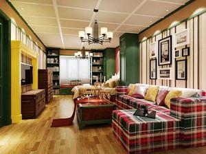 88平米热带时尚混搭风格两室两厅室内装修效果图