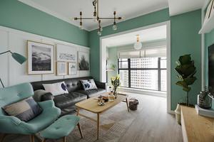 清新风格清爽绿色两室两厅室内装修效果图案例
