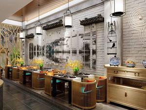 78平米后现代风格创意餐厅背景墙装修效果图