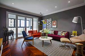 102平米后现代风格三室两厅室内装修效果图案例