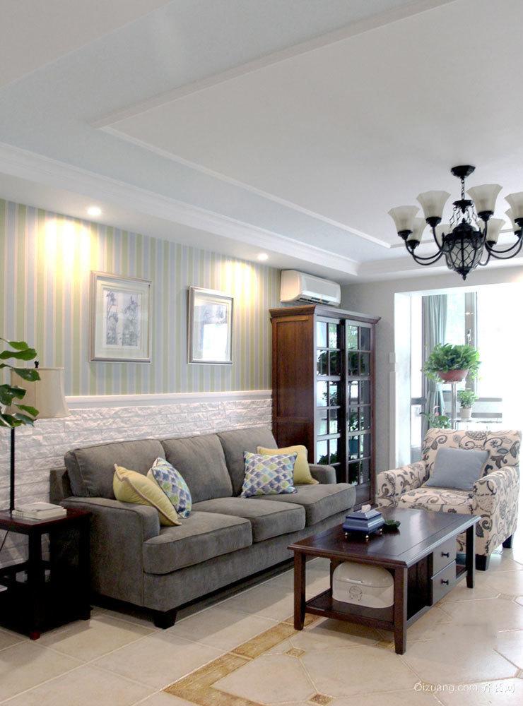 98平米简约美式风格精致两室两厅装修效果图案例
