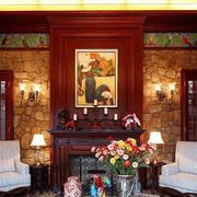 美式混搭风格精致客厅背景墙装修效果图