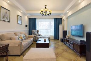 美式田园风格两室两厅两室内装修效果图案例