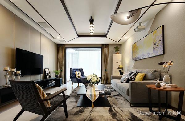 87平米新中式风格精致两室两厅室内装修效果图赏析