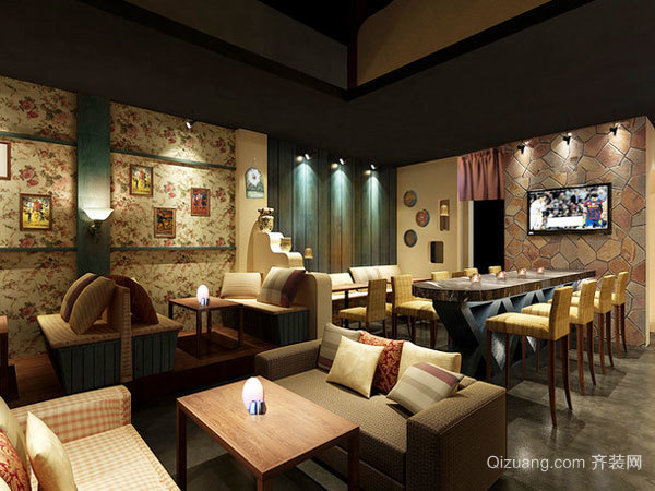70平米简约风格小型酒吧装修效果图
