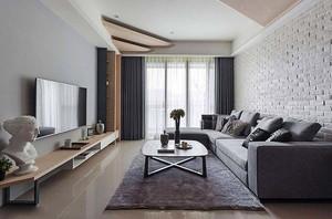 北欧风格简约几何时尚两室两厅室内装修效果图案例