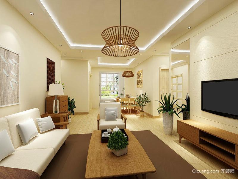 64平米简约中式风格一居室装修效果图案例