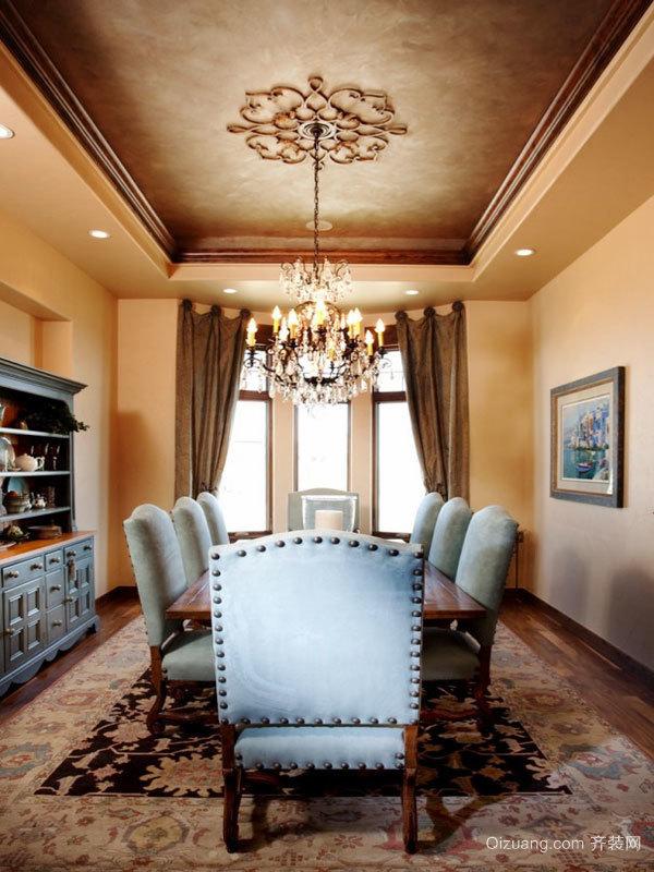 欧式风格别墅室内精美餐厅吊顶装修效果图