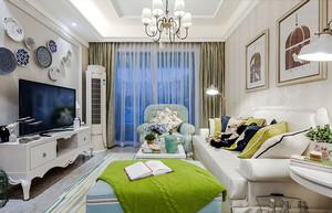 92平米清爽地中海风格两室两厅室内装修效果图案例