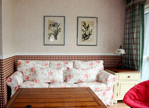 94平米田园风风格温馨三室两厅室内装修效果图案例
