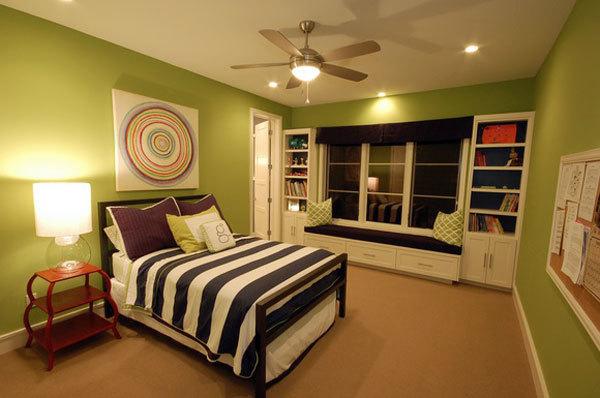 田园风格清新绿色卧室飘窗设计装修效果图