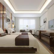 中式风格精致宾馆标准间装修效果图赏析