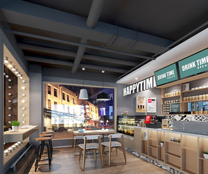 60平米现代简约风格奶茶店装修效果图