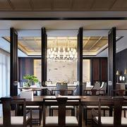 中式风格复古精致中餐厅装修效果图