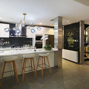 后现代风格精致厨房吧台装修效果图