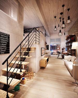 156平米后现代风格简约复式楼室内装修效果图案例