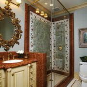 欧式风格别墅室内豪华卫生间淋浴房装修效果图