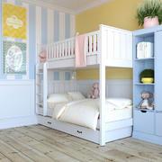 清新甜美双层床儿童房装修效果图赏析