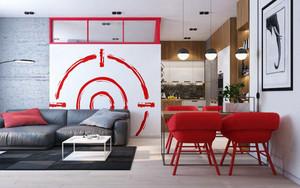 64平米现代风格时尚单身公寓装修效果图案例