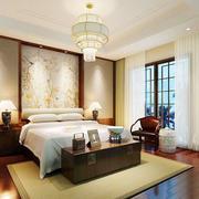 中式风格精致卧室背景墙装修效果图欣赏