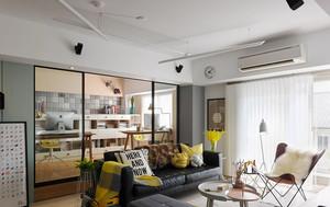 68平米清新风格时尚创意一居室室内装修效果图案例