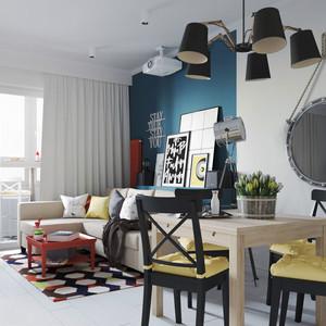 80平米现代风格时尚个性公寓装修效果图赏析