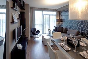 现代风格黑色系精致两室两厅室内装修效果图案例