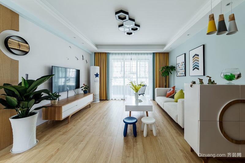 89平米小清新风格三室两厅室内装修效果图鉴赏