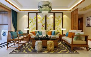 80平米新中式风格精致室内装修效果图案例