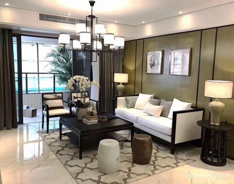 中式风格两居室精致客厅装修效果图