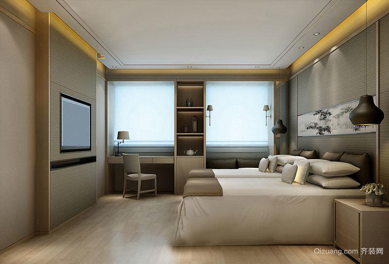 现代风格精致宾馆标准间装修效果图赏析