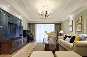 129平米美式风格温馨甜美三室两厅室内装修效果图