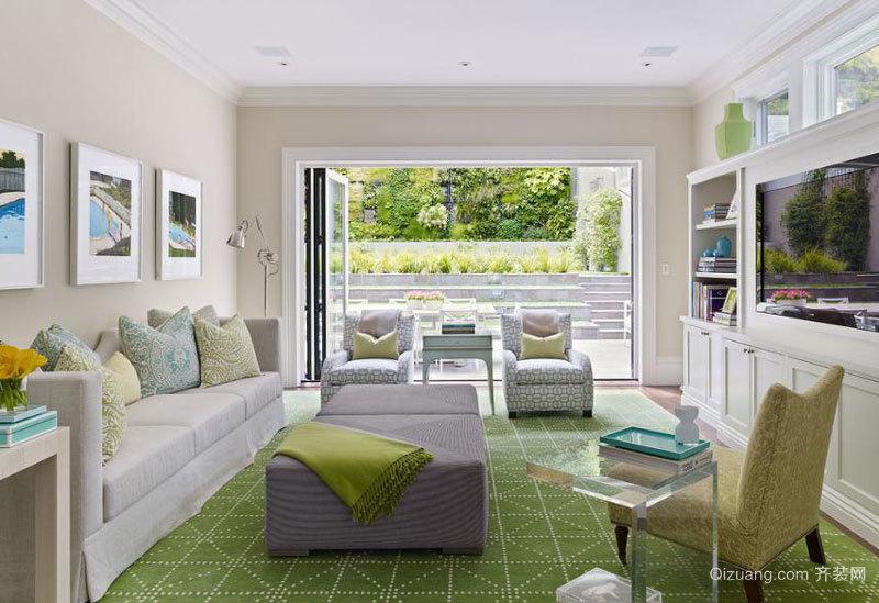 欧式风格别墅绿色清新客厅装修效果图