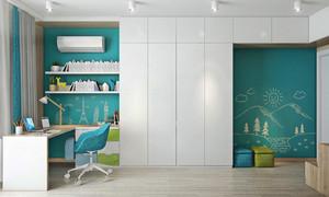 清新风格蓝色书房装修效果图赏析