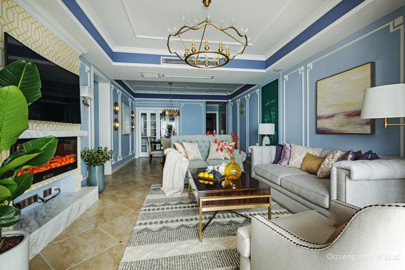 136平米清新美式風格三室兩廳室內裝修效果圖賞析