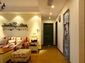 109平米美式田园风格时尚温馨两室两厅室内装修效果图