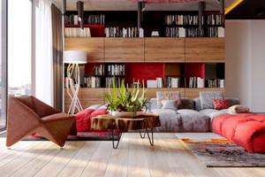 64平米现代风格时尚创意单身公寓装修实景图