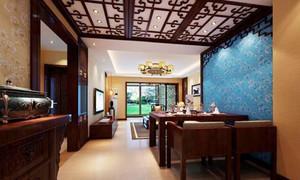 中式风格古色古香餐厅吊顶设计装修效果图