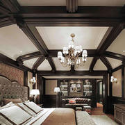 美式风格阁楼卧室吊顶设计装修效果图赏析