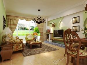 美式田园风格温馨三室两厅室内装修效果图案例