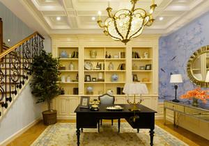 欧式风格别墅室内开放式书房装修效果图赏析