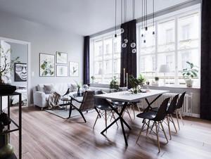 64平米北欧风格灰色系一居室小户型装修效果图