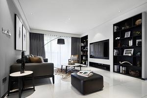 117平米现代风格黑色系三室两厅室内装修效果图