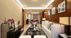 108平米新中式风格精致三室两厅室内装修效果图案例